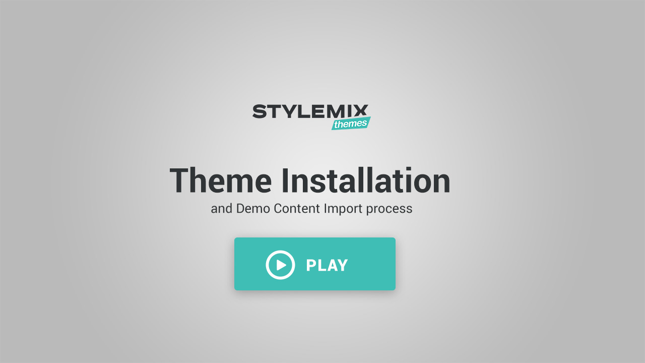 theme. Video: Theme Installation And Demo Import