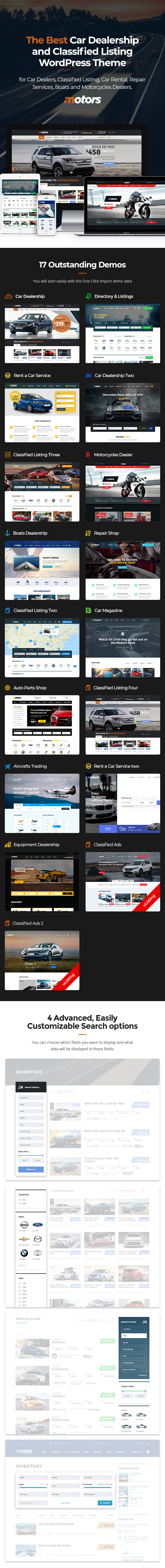Motors ­- Automotive, Cars, Vehicle, Boat Dealership, Classifieds WordPress Theme
