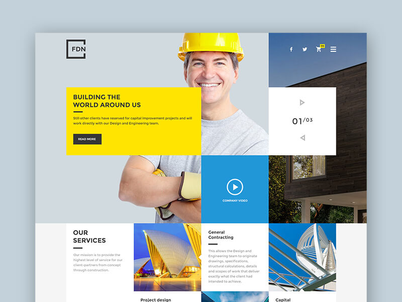 Free PSD Temlate for Construction and Building Websites