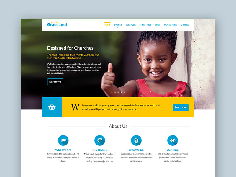 Free PSD Template for Church & Charity Website on Bootstrap