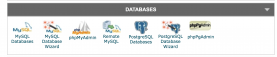 Databases section in phpMyAdmin cPanel