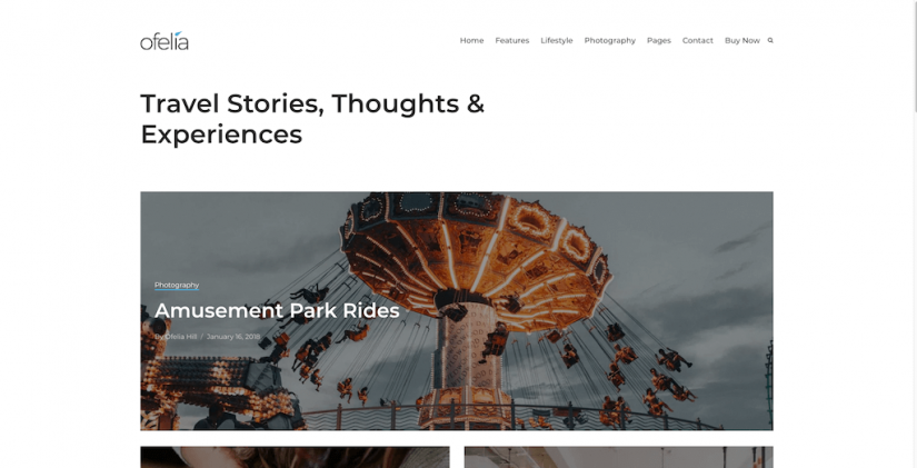 Ofelia – Travel Personal WordPress Blog Theme